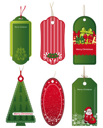 Bright Christmas tags