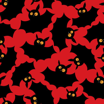 Halloween seamless pattern with funny bats.