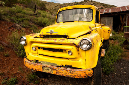 JEROME, USA - AUGUST 26:Jerome Arizona Ghost Town yellow old car