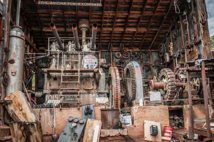 JEROME, USA - AUGUST 26:Steam Machine Jerome Arizona Ghost Town,