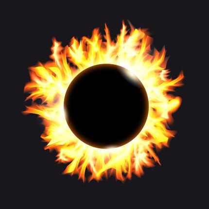 Solar eclipse. Frame of solar protuberances on a dark background