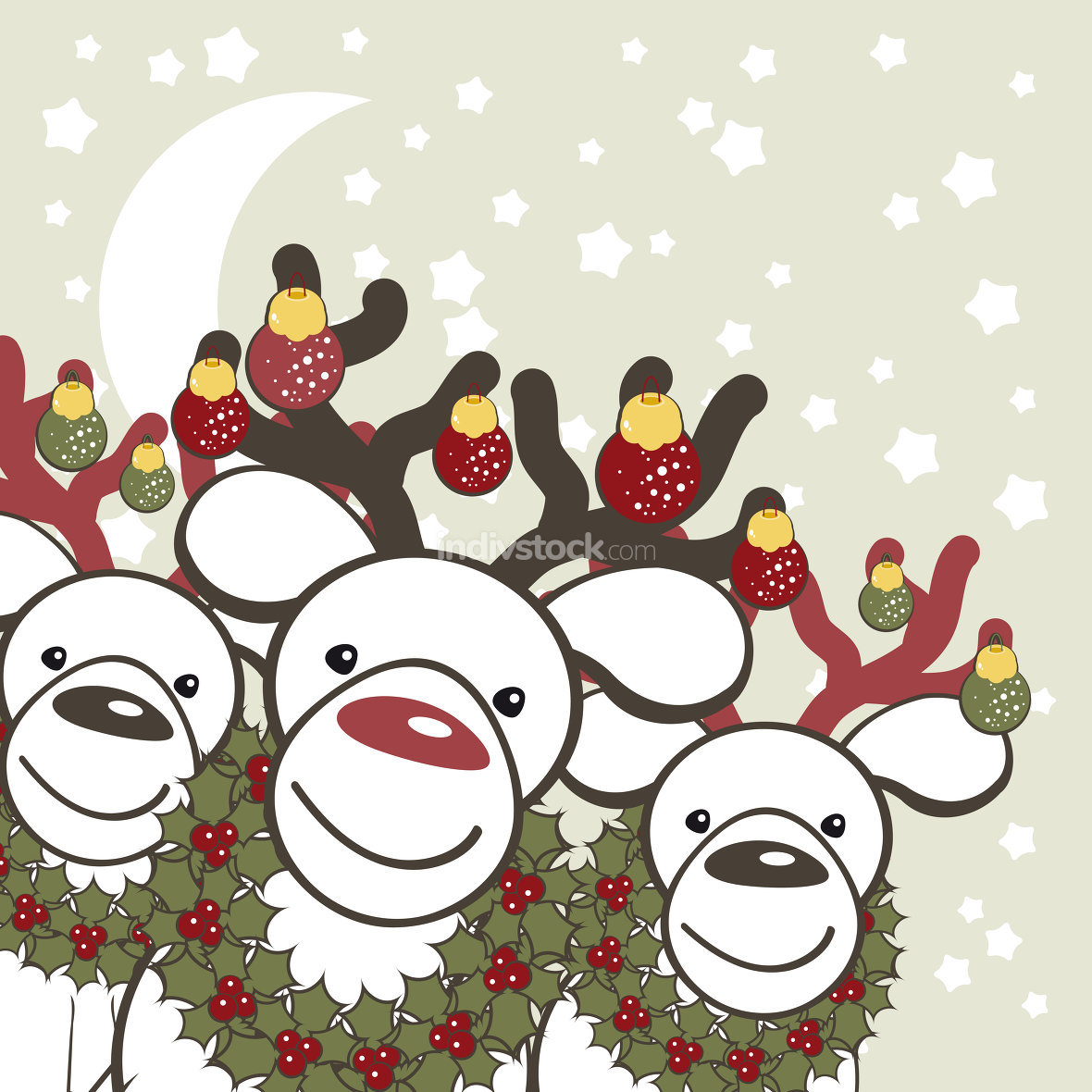 Christmas background with funny reindeers Santa Claus.