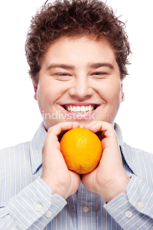 Chubby boy and orange