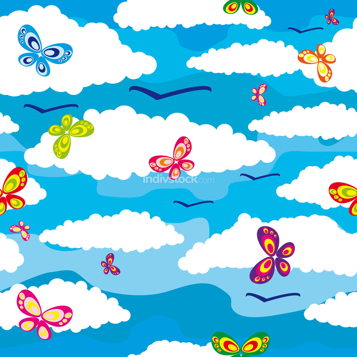 clouds butterflies