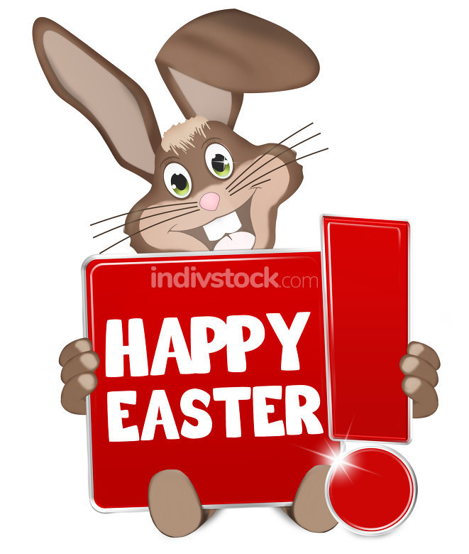 Easter Bunny red sign with exclamation mark