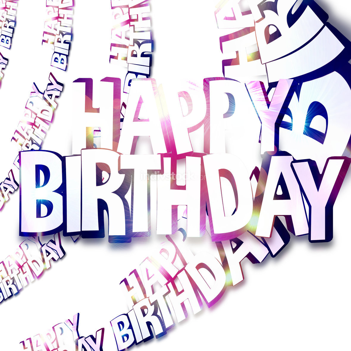 happy birthday 3d white background