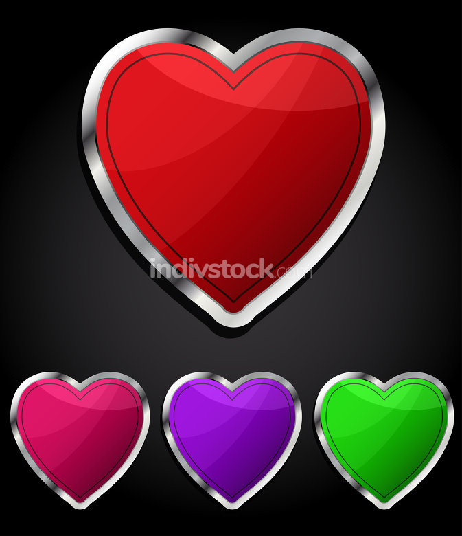 Heart glossy button, icon