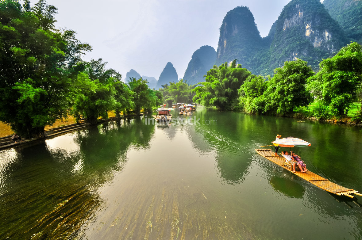Landscape of Li River in Winter, Guilin, China - The Li River or
