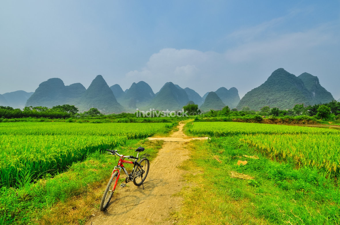 Li river vertical landscape in Yangshuo Guilin