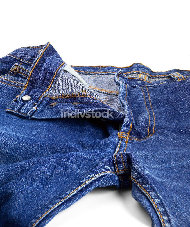 pair of bluejeans opened on white background