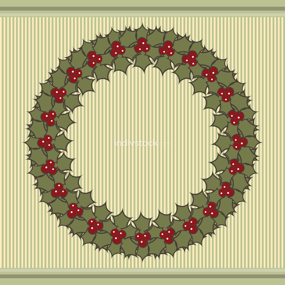 Retro Christmas background with a wreath of holly.