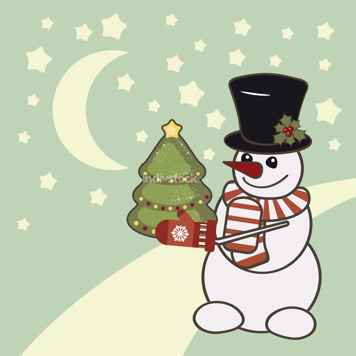 Retro Christmas card with a snowman.