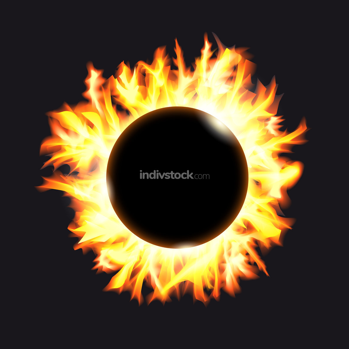 Solar eclipse. Frame of solar protuberances on a dark background