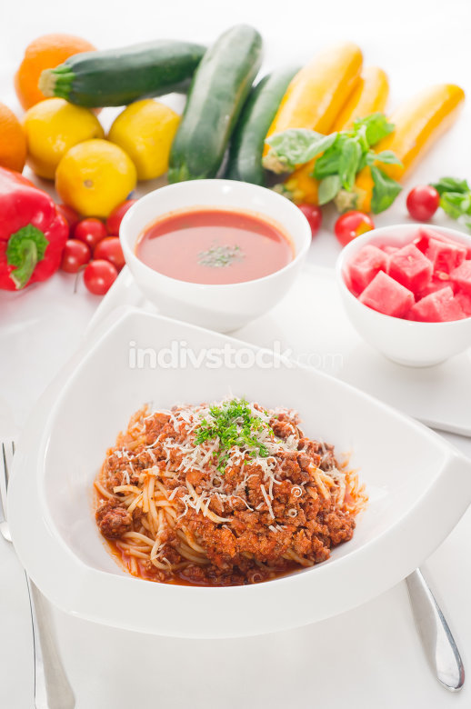 spaghetti with bolognese sauce with gazpacho soup and fresh veg