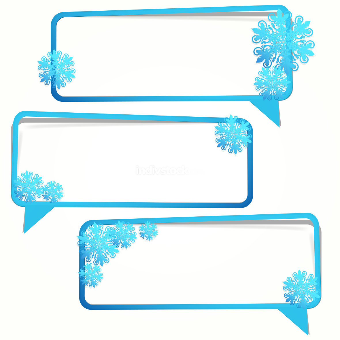 Winter sticker in the form of an empty frame for your text.