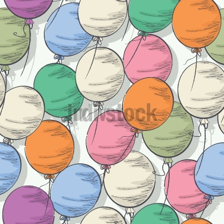 Seamless colorful balloon pattern