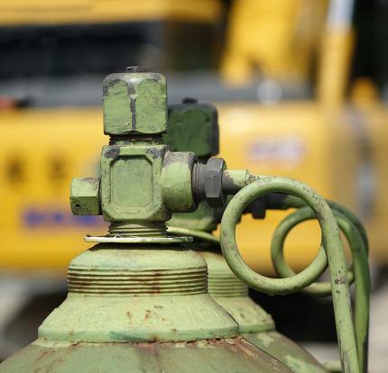 Large Oxygen Bottle at Construction Site