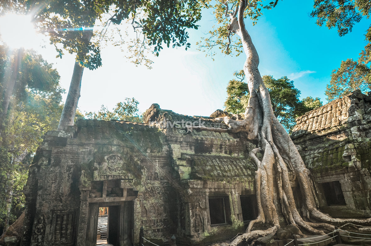 Ancient buddhist khmer temple in Angkor Wat complex, Siem Reap C