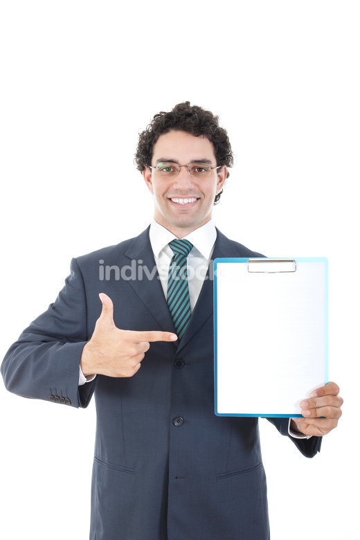 Businessman with blank banner. Place for text