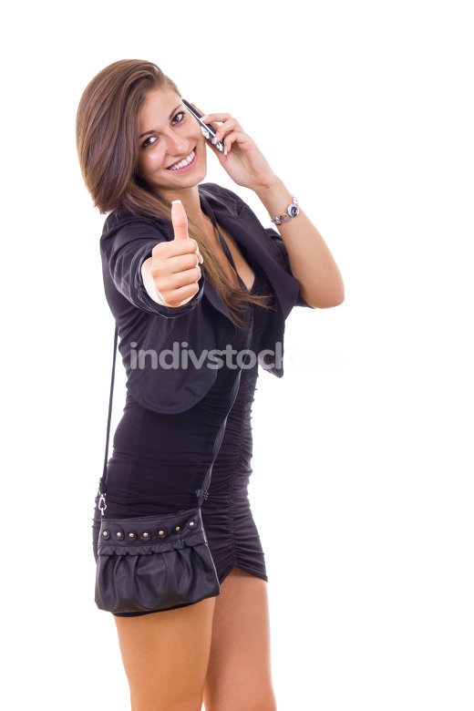 businesswoman with mobile showing thumbs up
