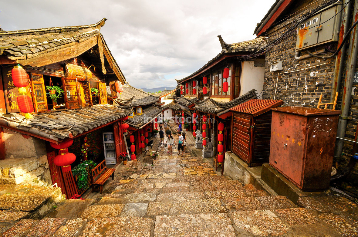 Lijiang China old town street and buildings