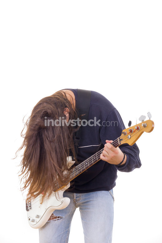 male musician playing bass guitar with hair down