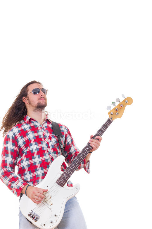 man in shirt with sunglasses playing electric bass guitar