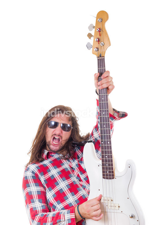 man showing his electric bass guitar