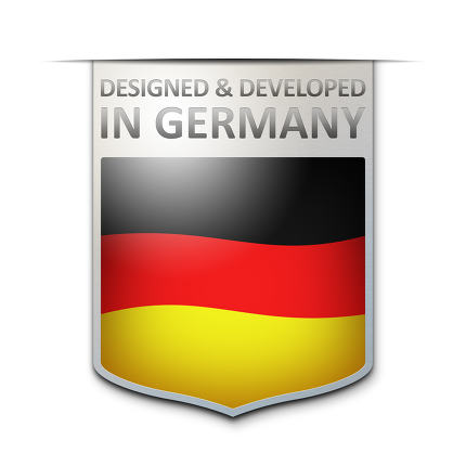 designed and developed in germany badge