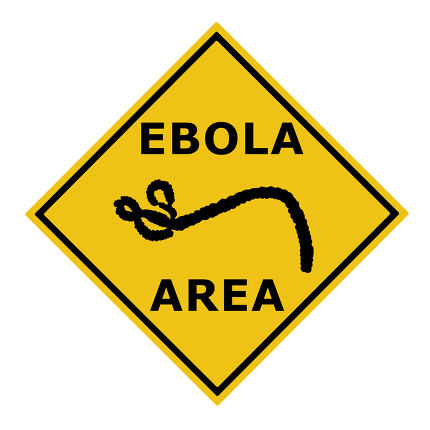 Ebola virus danger warning area symbol sign