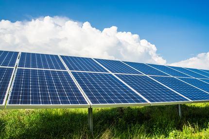Solar panels on field