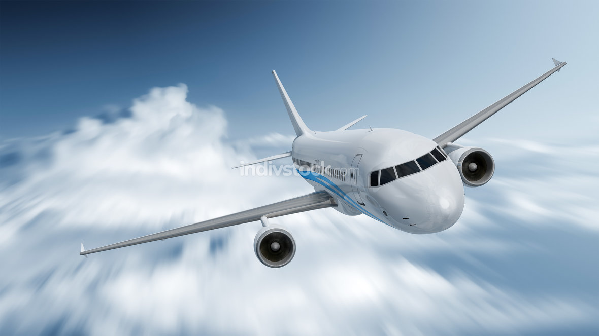 airplane with motion blur in the clouds