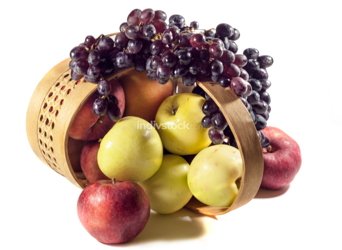 apples and grapes. Isolated