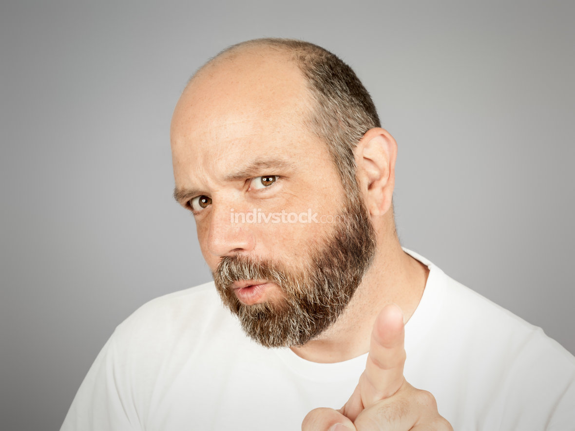 bearded man pointing