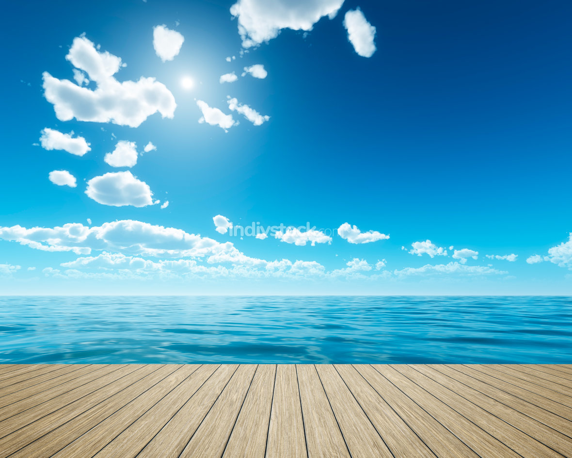 bright sky background with a wooden jetty foreground