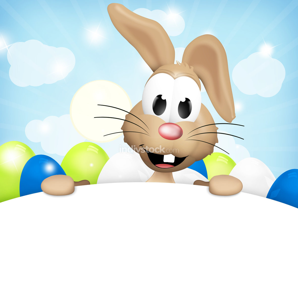 easter bunny light brown white boards paws