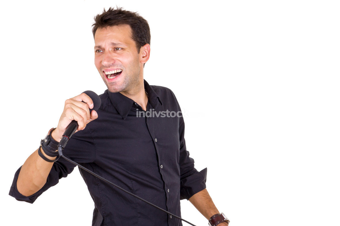 emotional male singer with microphone