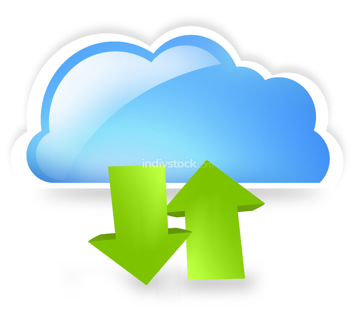 free download: blue cloud green upload and download arrow