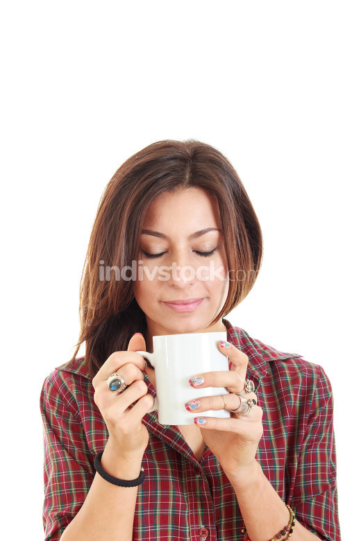 Girl holding cup mug of hot drink coffee or tea