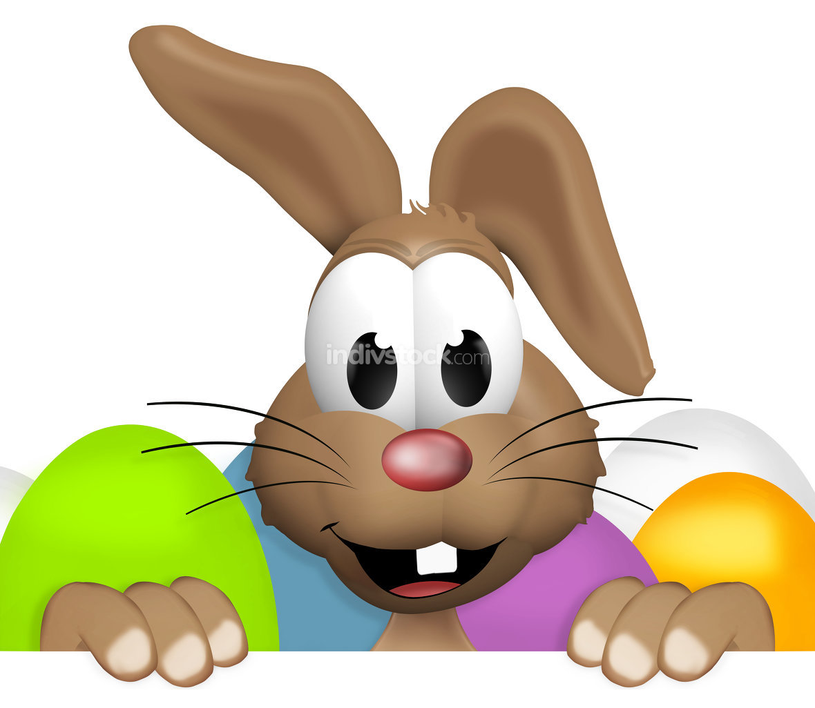 happy easter bunny colored eggs blank board