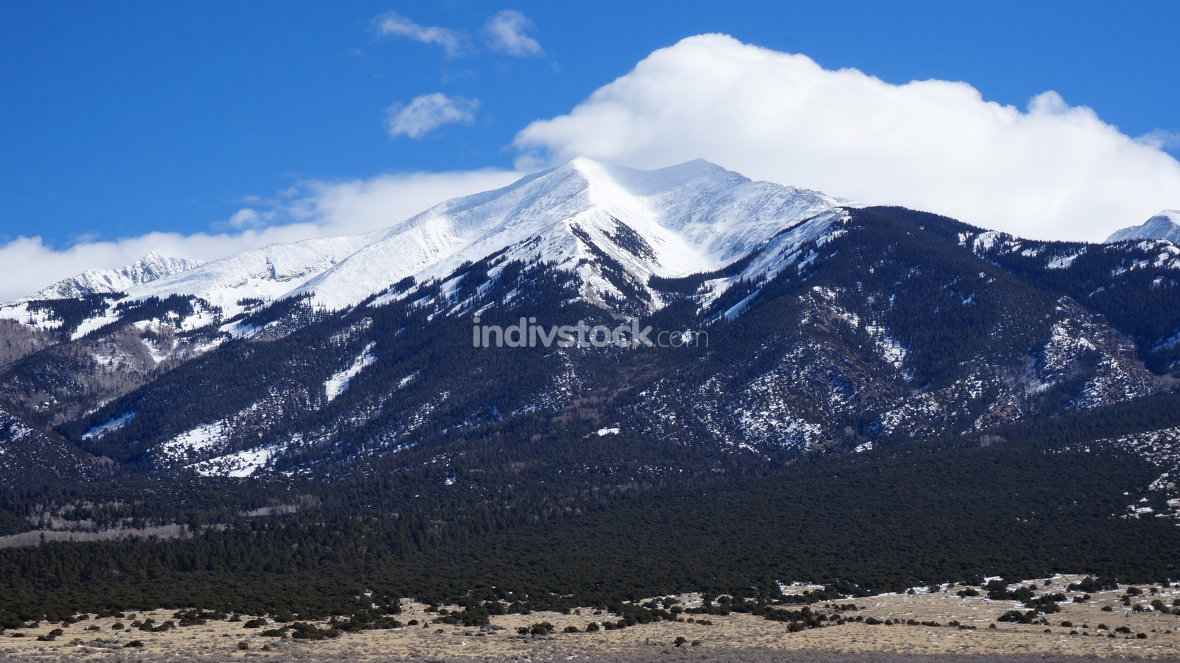 High mountain covers by snow in the winter