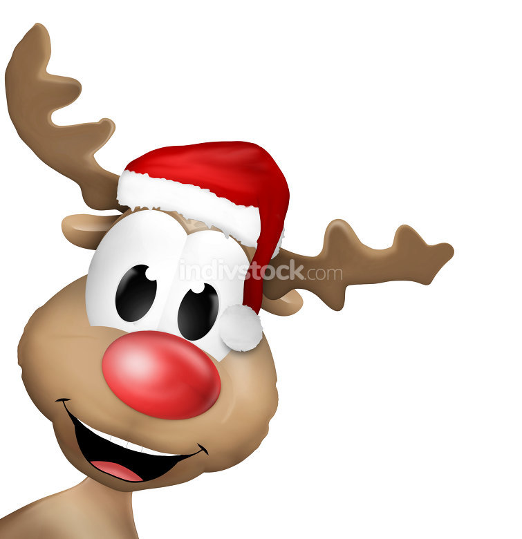 left side happy reindeer isolated white background cartoon