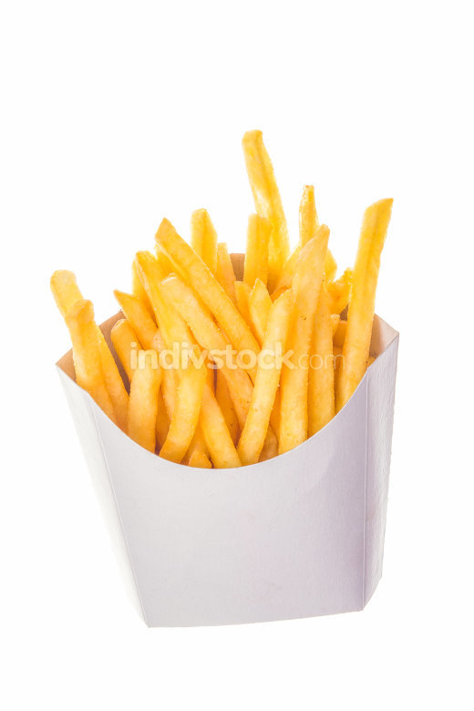 portion of french fries in paper wrapper