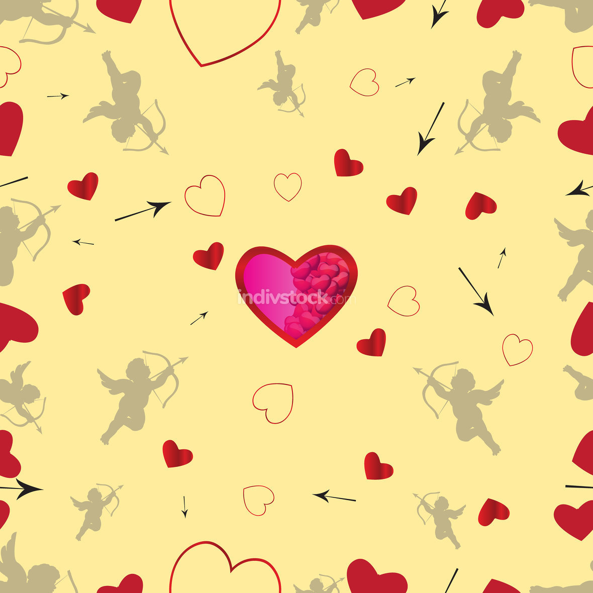 Seamless pattern with cupids and hearts.