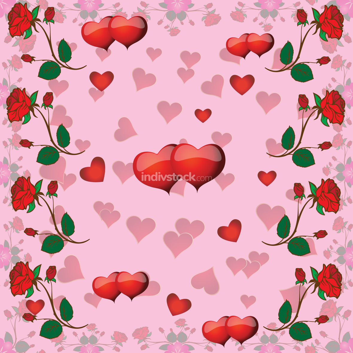 seamless pattern with roses and hearts for Valentine
