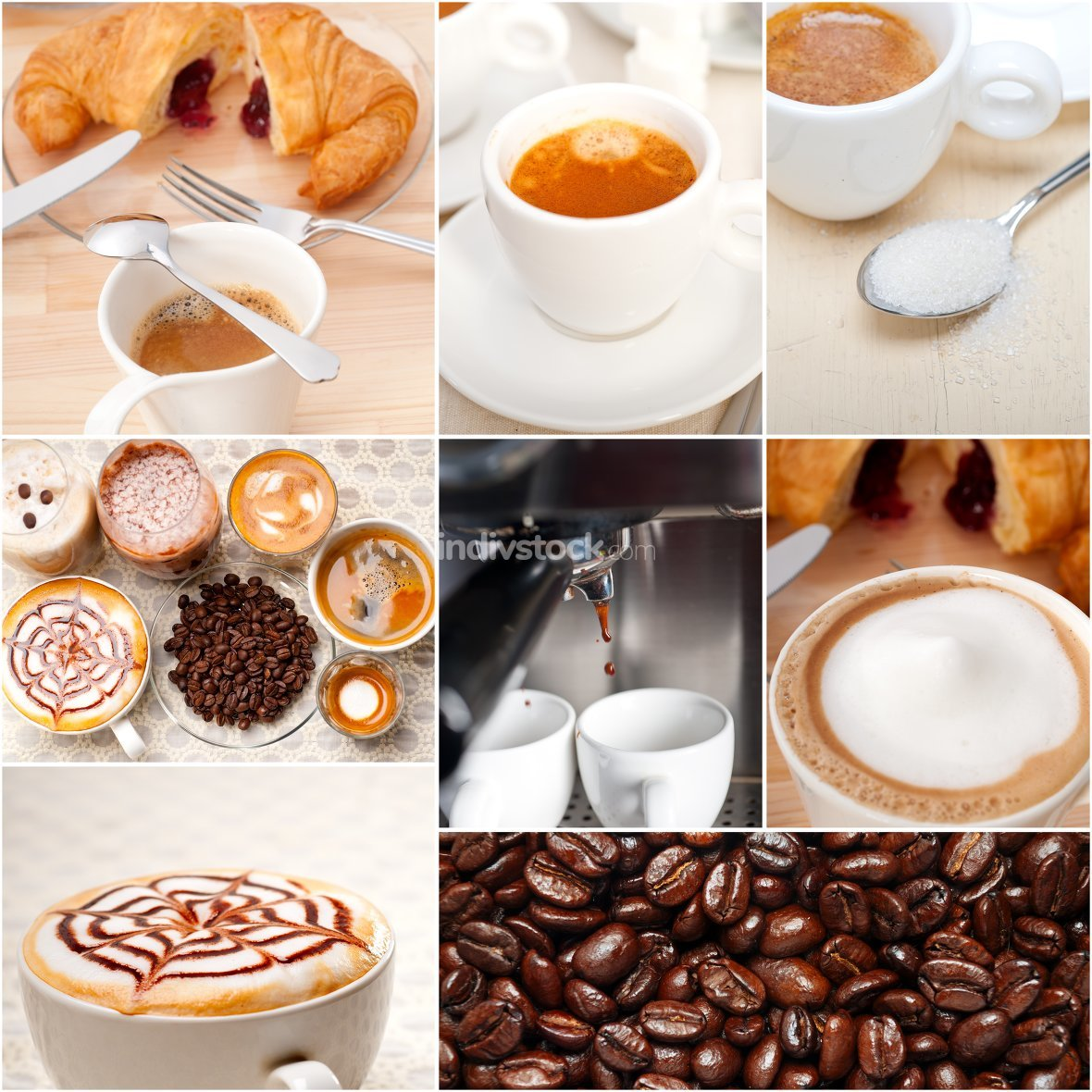 selection of different coffee type on collage composition