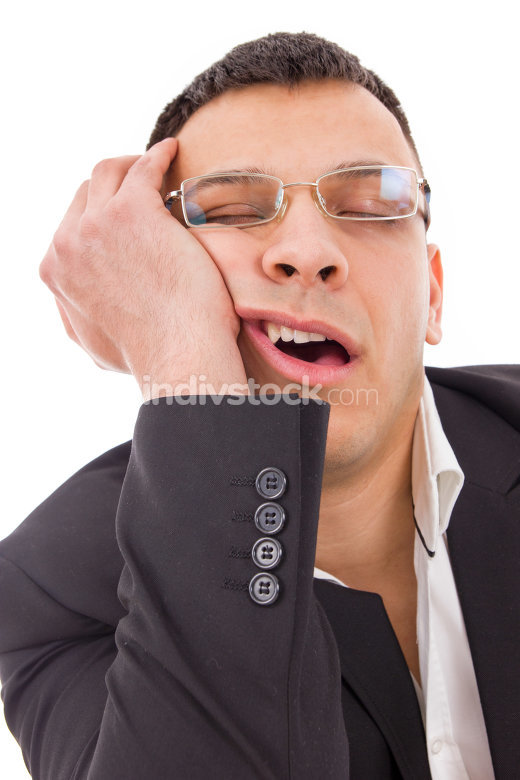 tired man with glasses yawning and sleeping