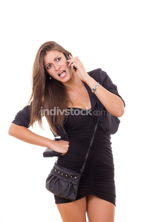 young beautiful business woman having discussion over phone