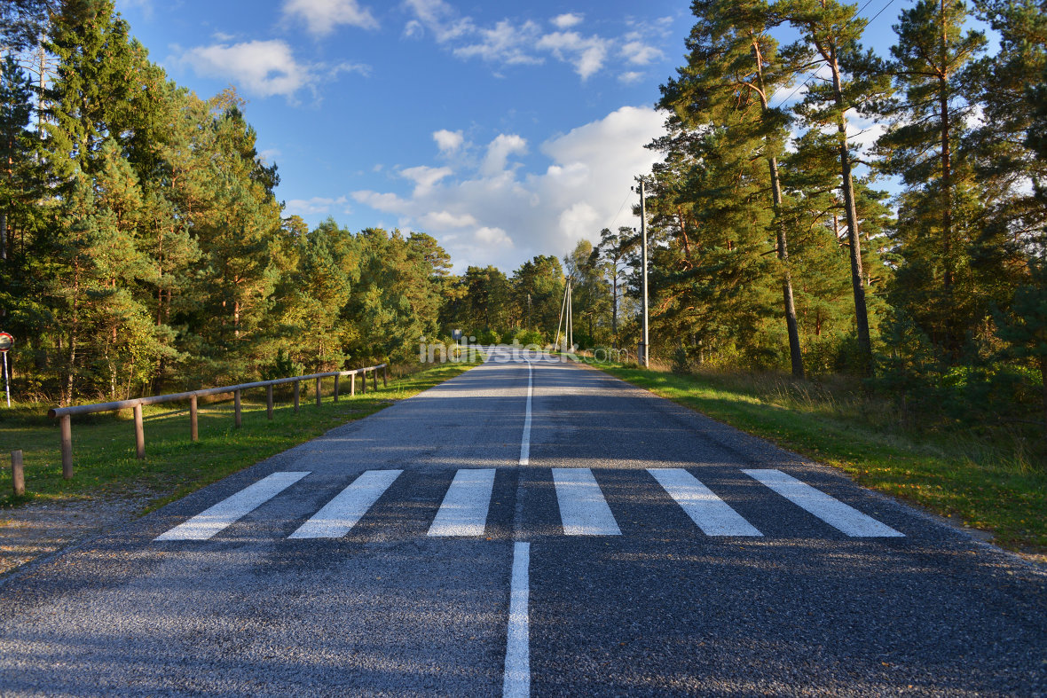 Zebra stripes on empty road