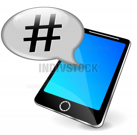 Vector phone with hashtag